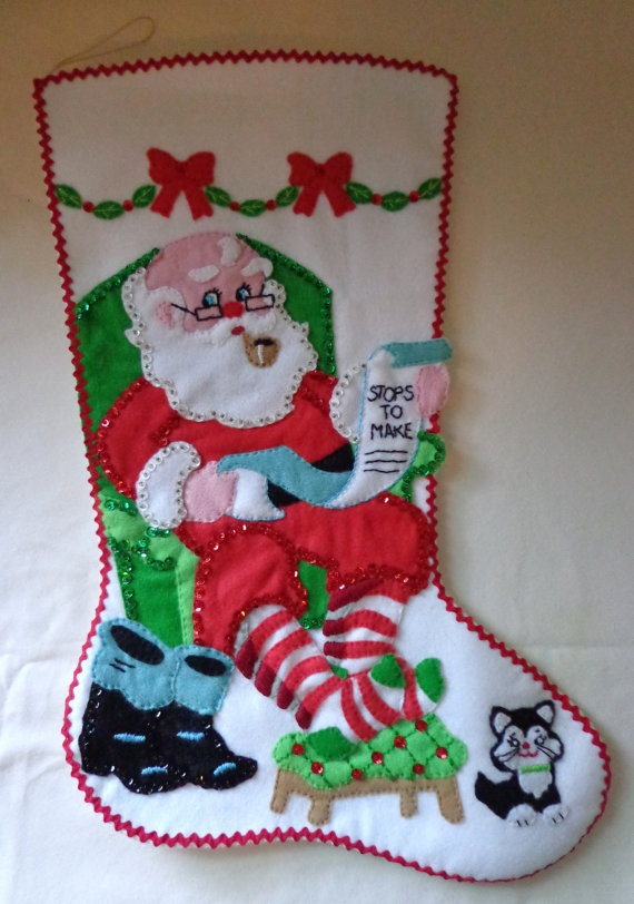 Vintage Christmas stocking  Santa checking his by vintageroseOR, $48.00