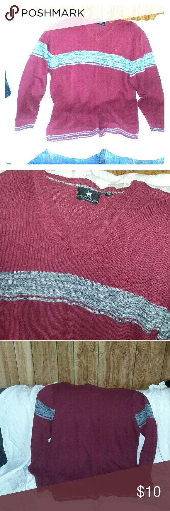 U.s. polo Association Club burgundy sweater 2 x The sweater is used it has a snag that I repaired on the back of one sleeve. Measurements for length width and sleeves are i the photos. I have lots of other unique items in my closet so go check it out please. Thanks for dropping by Brenda U.S. Polo Assn. Sweaters V-Neck