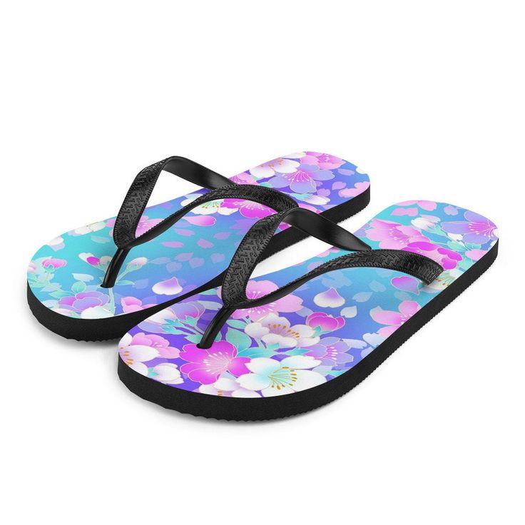 Pink and blue floral Flip-flops