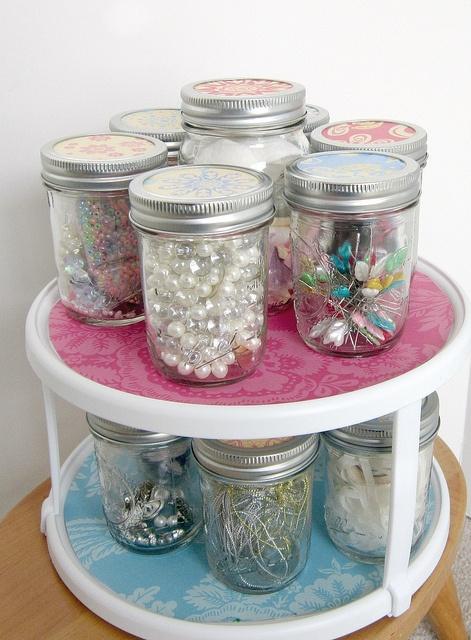 Best 1808 craft room organization storage images on for Mason jar craft storage