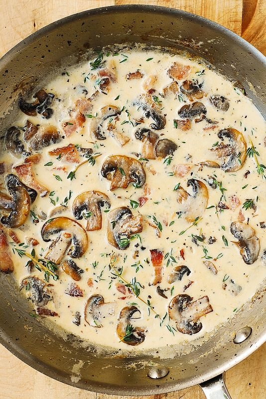 Creamy Mushroom Sauce with Bacon and Thyme