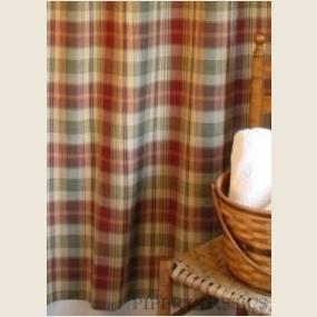 saffron shower curtain by park designs features barn red sage green navy blue u0026 beige plaid