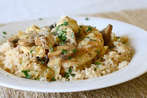 Chicken and artichokes in a white wine sauce- made tonight and LOVE. I put this on couscous