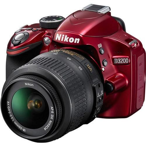Nikon Red D3200 Digital SLR Camera with 24.2 Megapixels and 18-55mm Lens Included