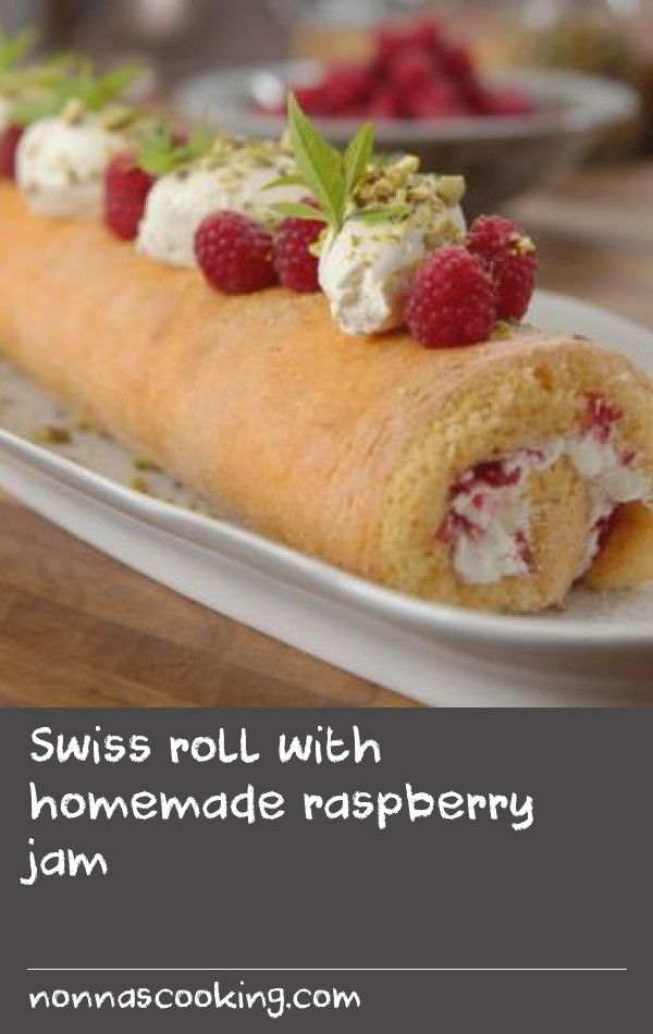 Swiss roll with homemade raspberry jam |      This no-fuss jam recipe is quicker and easier to make than traditional jam and works a treat in a Swiss roll.For this recipe you will need a 38x25cm/15x10in Swiss roll tin.