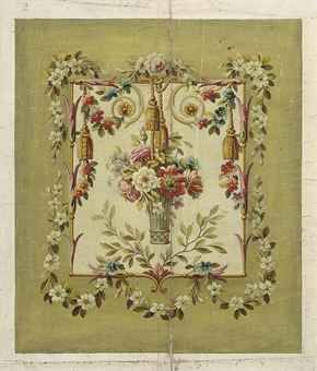 Four Aubusson cartoons for chair backs, one depicting a lyre and trumpet surrounded by a fruit and vine leaf border and three depicting flowers in baskets and vases within floral borders (one illustrated)