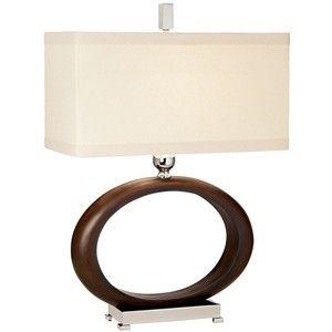 Raschella Walnut Finish Open Oval Table Lamp