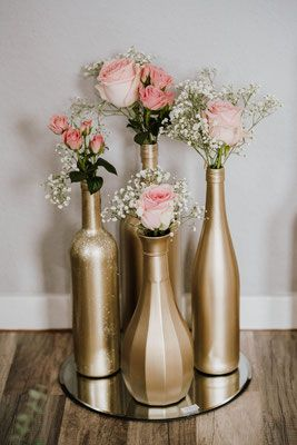 Golden Wedding decor  Centerpiece  Painted bottles
