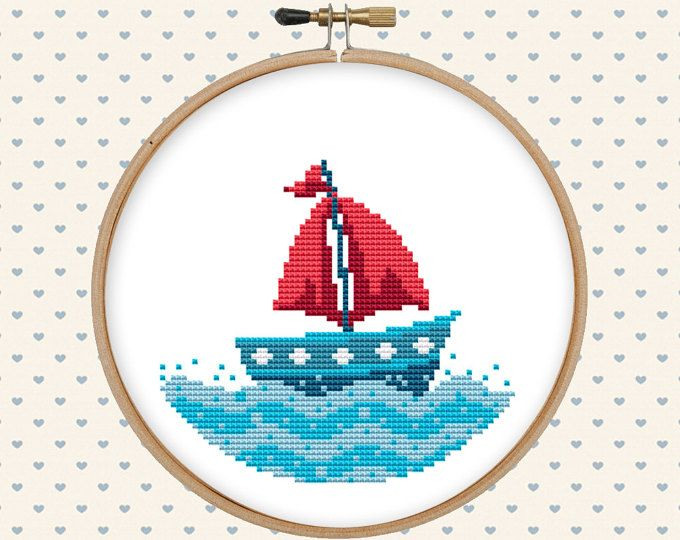 Nautical cross stitch pattern pdf - summer cross stitch - sea cross stitch - easy cross stitch pattern - boat - instant download
