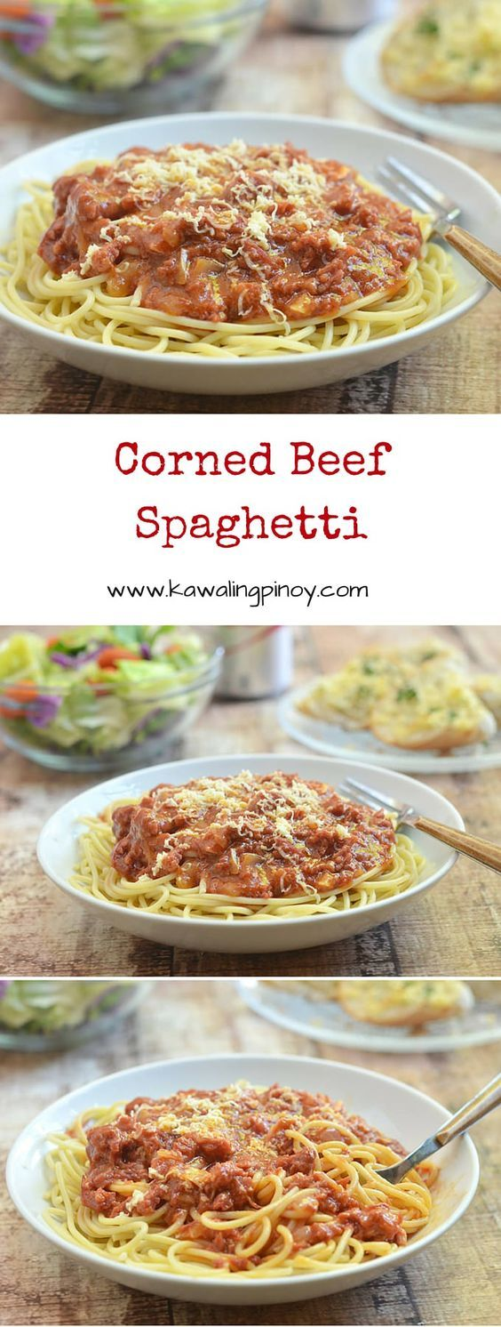 Corned Beef Spaghetti is a Filipino-style pasta dish which uses corned beef for the sauce topping;  uniquely-delicious!