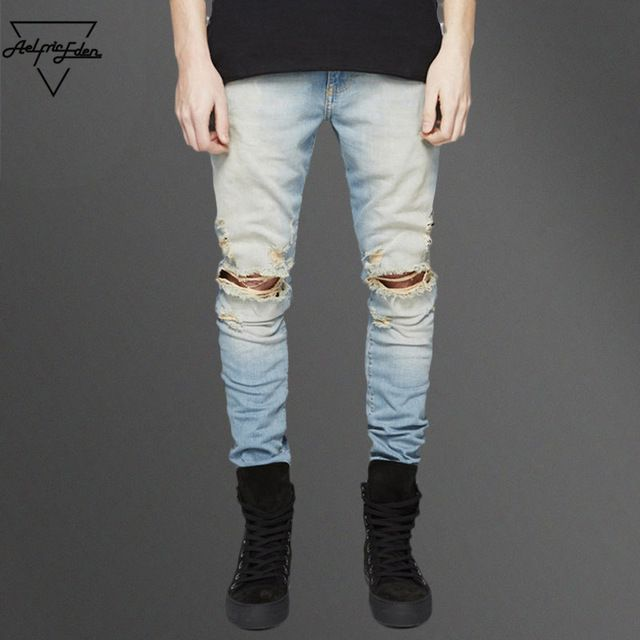 Check it on our site Aelfric Eden Streetwear Ripped Black Skinny Jeans for Men Kpop Casual Denim Pants Blue Hip Hop Biker Men Male Jeans Trousers just only $23.49 with free shipping worldwide  #jeansformen Plese click on picture to see our special price for you