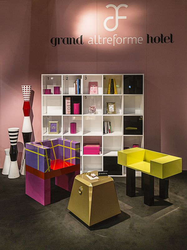 #chattingroom with #lingottino pouf, #design Garilab by Piter Perbellini, #sonia and #francis seat, #shakespeareandcompany bookshelf, #design Elena Cutolo for #altreforme grand altreforme hotel #stand @iSaloni 2015  #grandaltreformehotel #altreformegoesfashion #myminisalvador #designweek#interior #home #decor #homedecor #furniture with #woweffect #aluminium