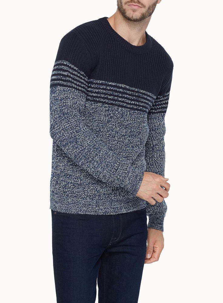 Mixed stitch block sweater | Simons