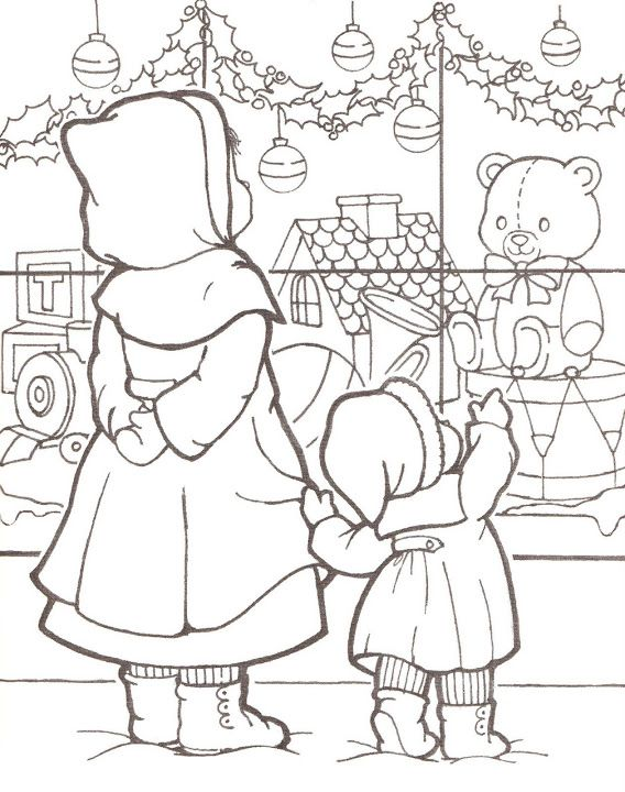 Old fashioned vintage christmas coloring page