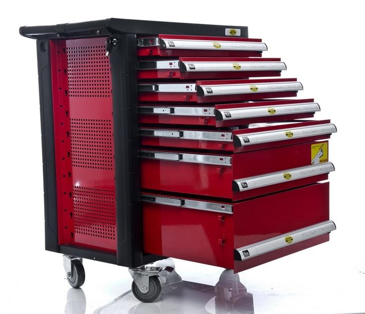 Solid mobil verktøyvogn fullstappet med masse kvalitetsverktøy i krom-vanadium.
