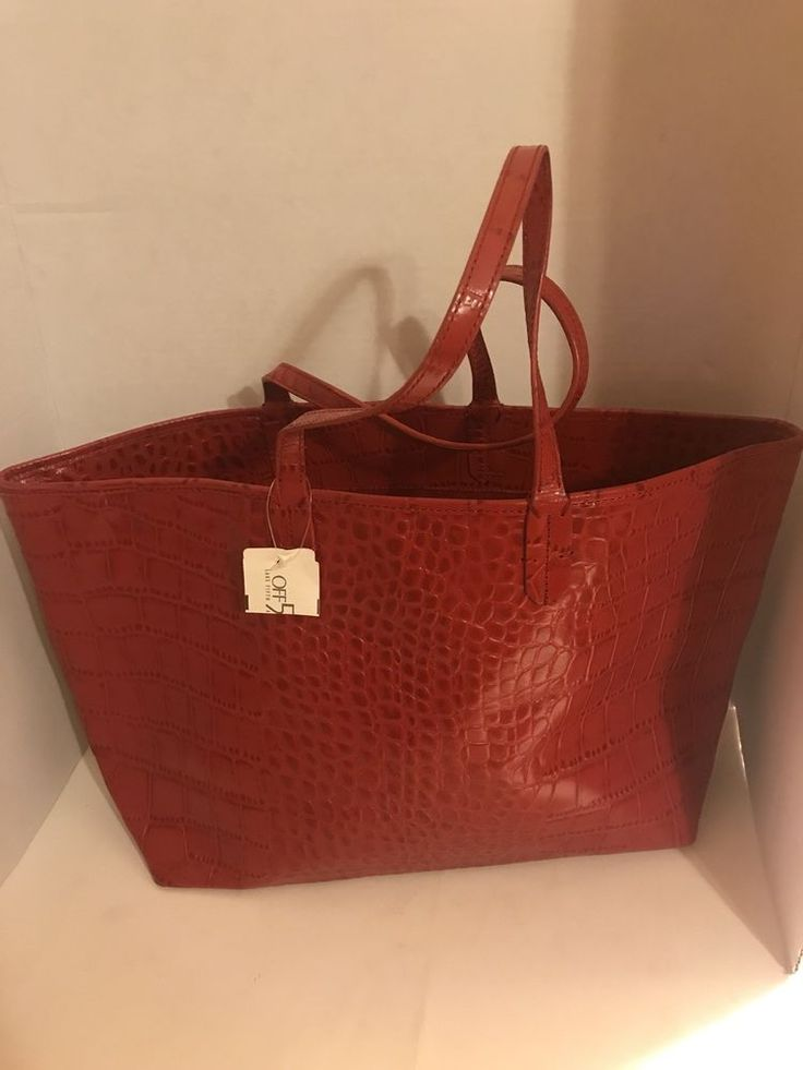 saks off fifth avenue tote red bag  | eBay