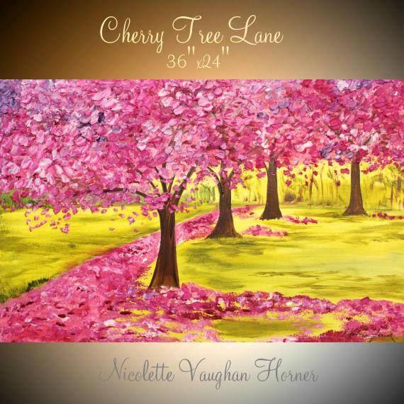 """36 """"acrílico abstracto Galería lienzo contemporáneo paleta cuchillo Impasto pintura ORIGINAL""""Cherry Blossom Lane""""de Nicolette Vaughan Horner"""