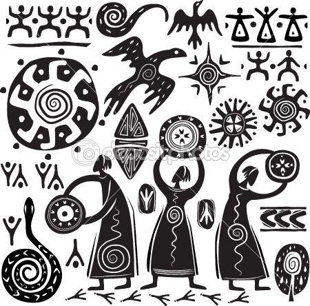 Elements for designing primitive art by wikki33 - Imagens vectoriais em stock