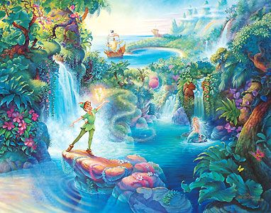 Peter Pan - The Magic of Peter Pan - Tom duBois - World-Wide-Art.com - $375.00 #disney #peterpan #tinkerbell