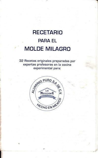 COSITIS!!!: RECETARIO MOLDE MILAGRO