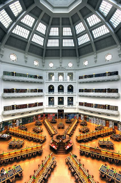 La Trobe Reading Room by Wojtek Gurak, via Flickr showing Dome, State Library of Victoria.  Melbourne Australia