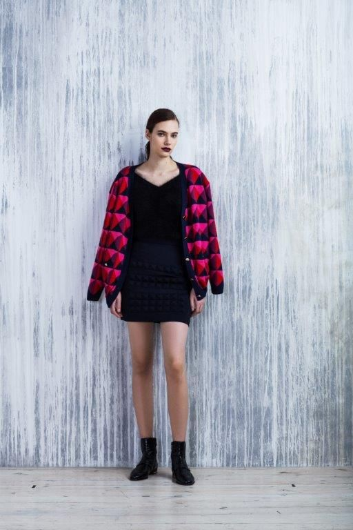 LUBLU Kira Plastinina FW14/15 geo print cardigan, angora sweater and studded neoprene mini skirt.