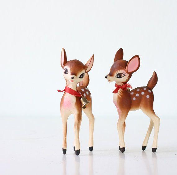 Vintage Christmas Deer  set of 2 by bellalulu on Etsy