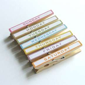 Every-day-of-the-week clothes pins to help you organize your work. Do this with washi tape or Dymo labels.