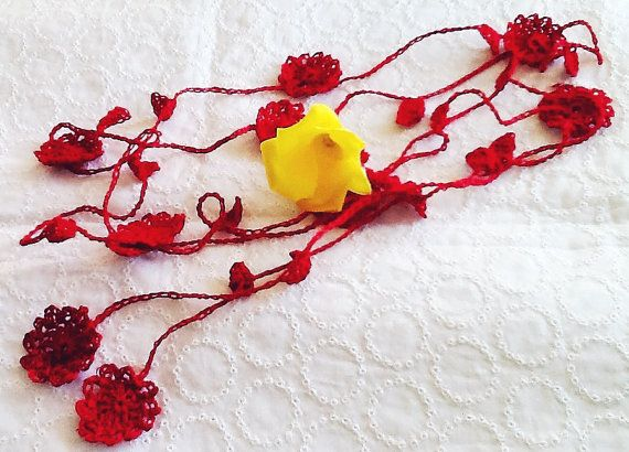 Handmade crochet linen flower and leaf lariat  Red by LOLAsHome, $12.00
