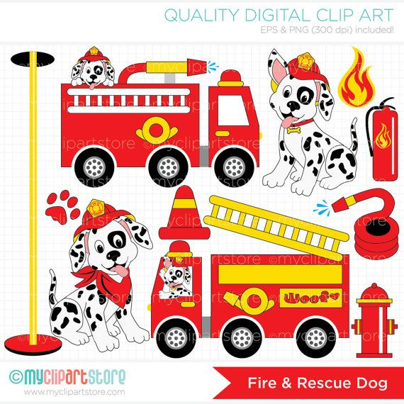 Fire and Rescue Dog / Fire Trucks Clip Art / by MyClipArtStore, $4.00