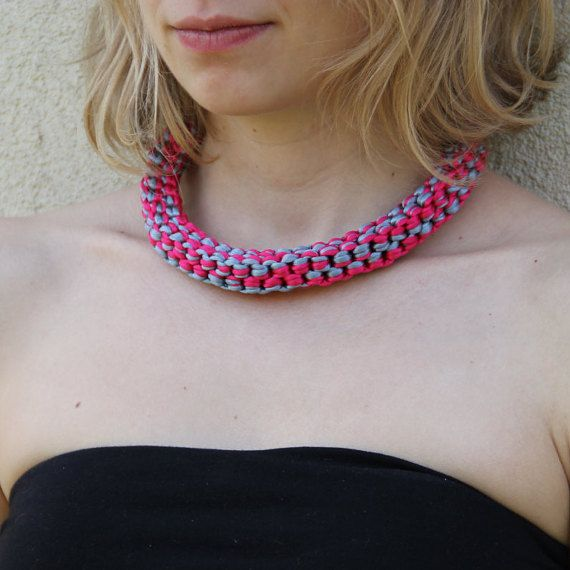 Pink and grey necklace Knotted necklace Rope by SophiesKnotShop