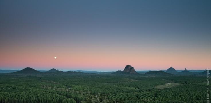 Glasshouse Mountains Moonset