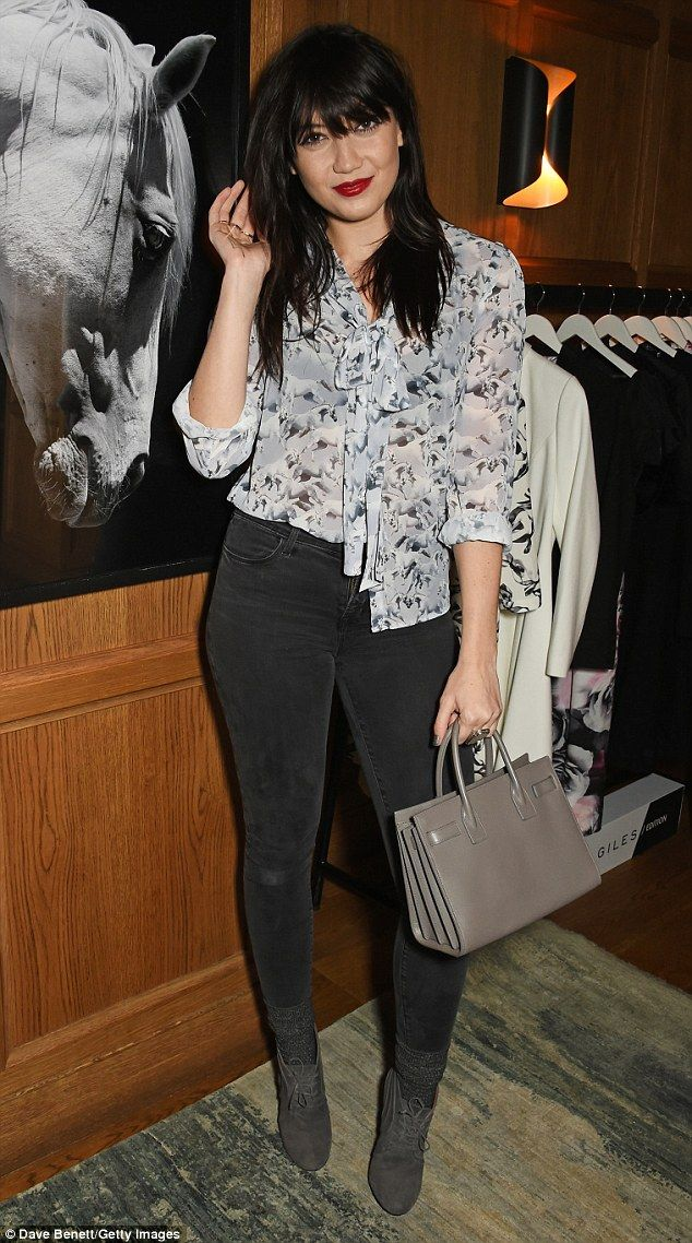 The face of the collection Daisy Lowe arrived in a pair of grey skinny jeans and patterned blouse