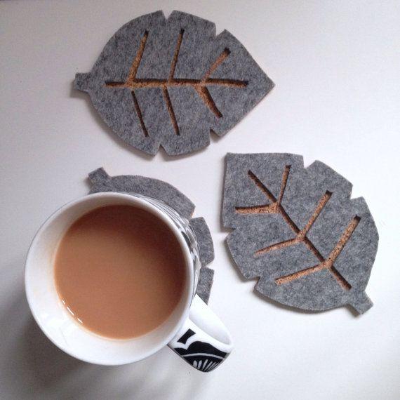 Scandinavian Grey Felt Leaf Drink Coasters