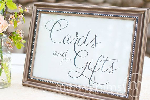 Cards and Gifts Table Sign - In a white frame