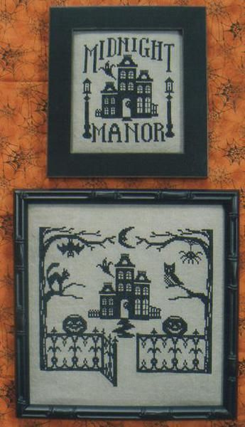 Midnight Manor (One Color Wonders) - Cross Stitch Pattern.  I like the one with the pumpkins