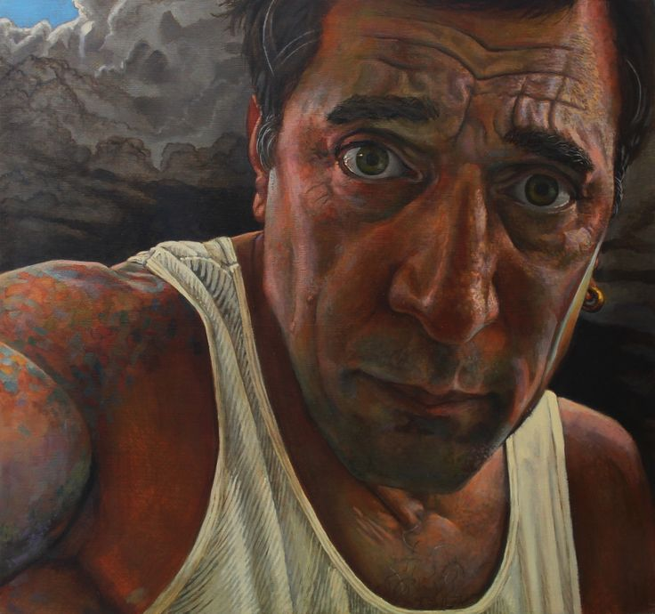 Self portrait 2014 by Paul Herman Oils on panel 58 x 63 cm (about 2 x 2 feet)