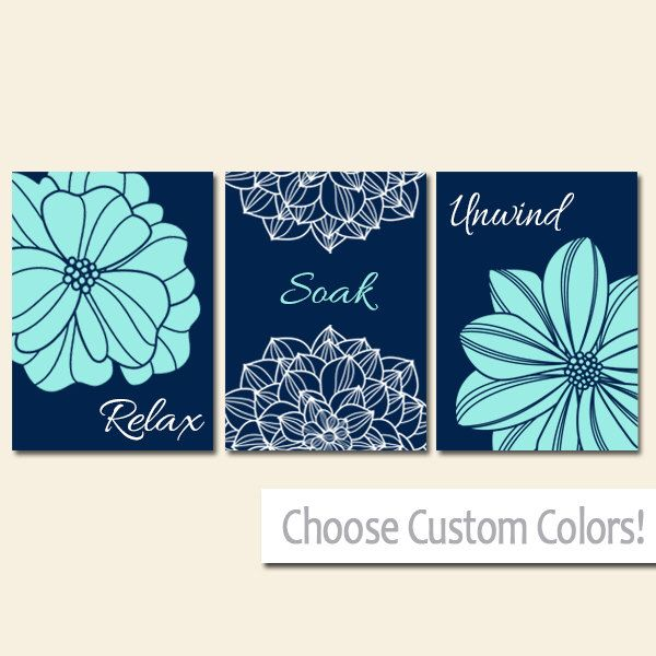 Navy Aqua BATHROOM DECOR. WALL Art, Canvas or Print Flower  Bathroom Pictures, Relax Soak Unwind, Quote Words Flower Artwork, Set of 3(Etsy のTRMdesignより) https://www.etsy.com/jp/listing/247947913/navy-aqua-bathroom-decor-wall-art-canvas