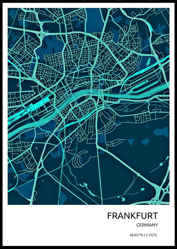 Frankfurt City Map High Quality Metal Poster City Maps Illustration Graphic City Maps City Map Art