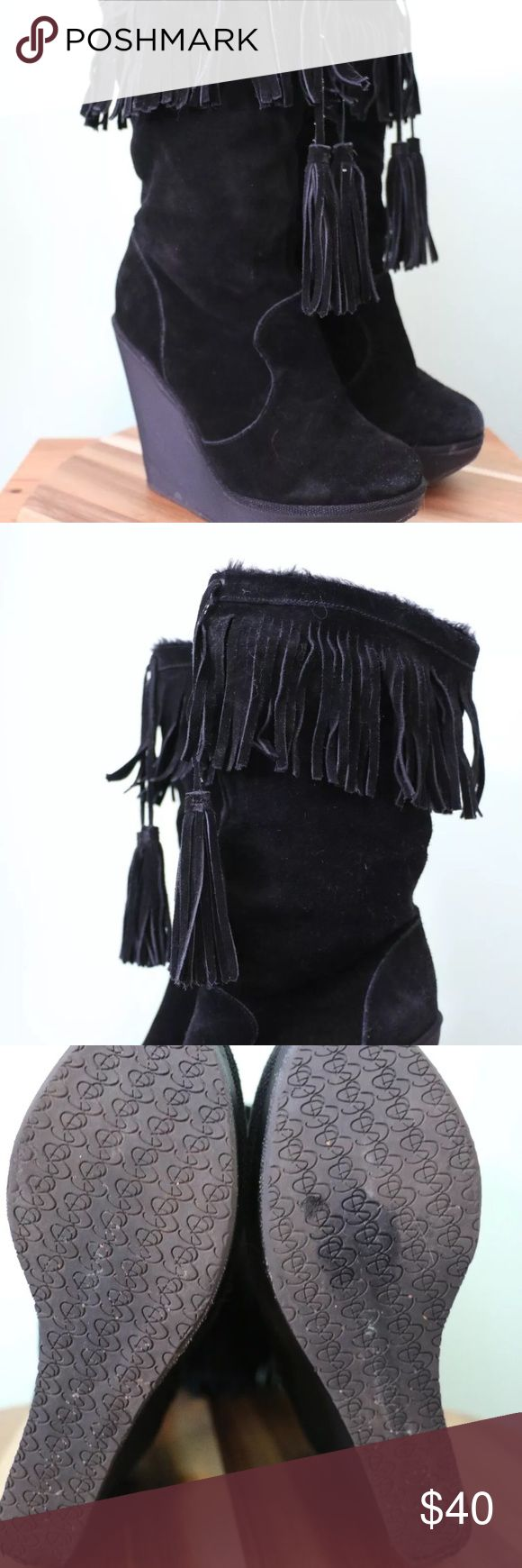 Jessica Simpson wedge fringed black boots sz 8 Jessica Simpson wedge fringed black boots sz 8 Jessica Simpson Shoes Heeled Boots