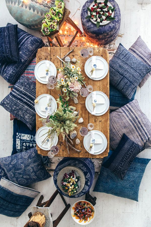 lavendar patterned cushions, mixed bouquets + a rustic wooden table - such a stunning Morrocan inspired tablescape