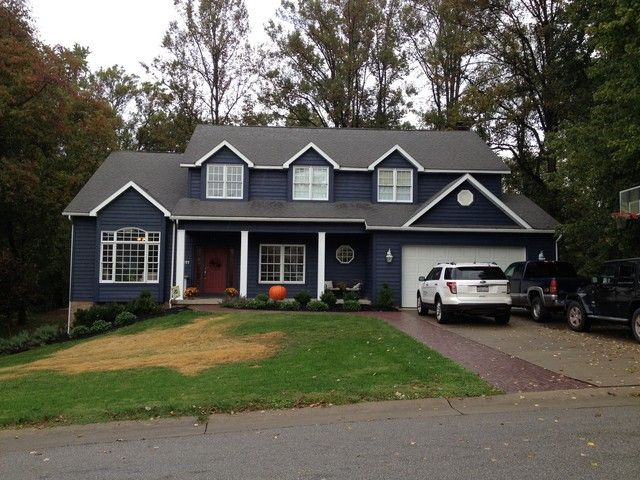 What Color Front Door With Navy Blue House Home Decorating Design Forum Gardenweb New Exterior Paint