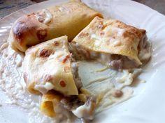 Crepes de carne picada y champiñones - Crêpes ripieni di salsicce, champignon e provola - Stuffed crepes with mushrooms ham and bechamel sauce