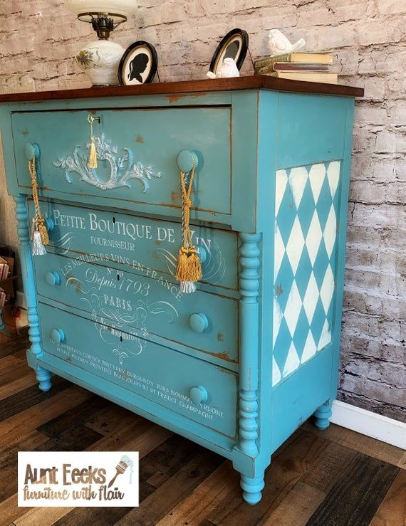 Hand Painted Antique Chest Of Drawers Etsy Blue Distressed Furniture Distressed Furniture Green Painted Furniture