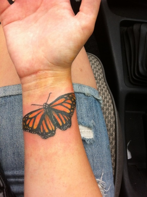 17 best images about realistic 3d butterfly tattoos on for Butterfly tattoo wrist designs