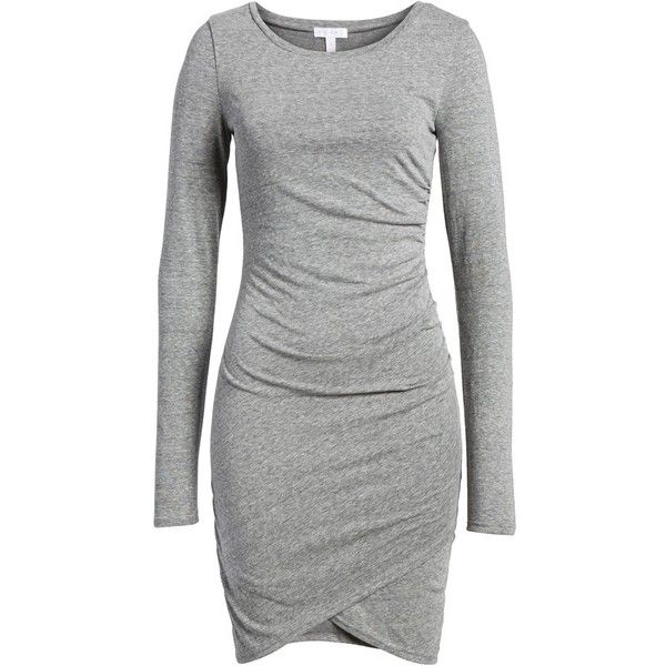 Women's Leith Ruched Long Sleeve Dress (190 PEN) ❤ liked on Polyvore featuring dresses, grey cloudy heather, grey ruched dress, leith dress, long sleeve wrap dress, grey long sleeve dress and grey wrap dress