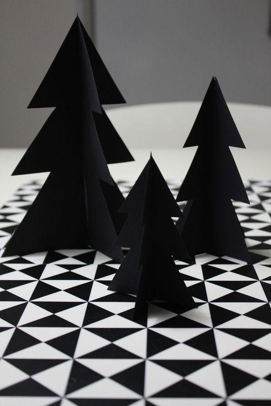 DIY; Christmas crafts - tree - black - paper - decor - modern - scandinavian