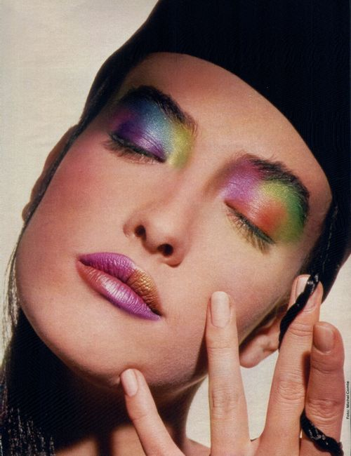 Tatjana Patitz late 80s | rainbow makeup