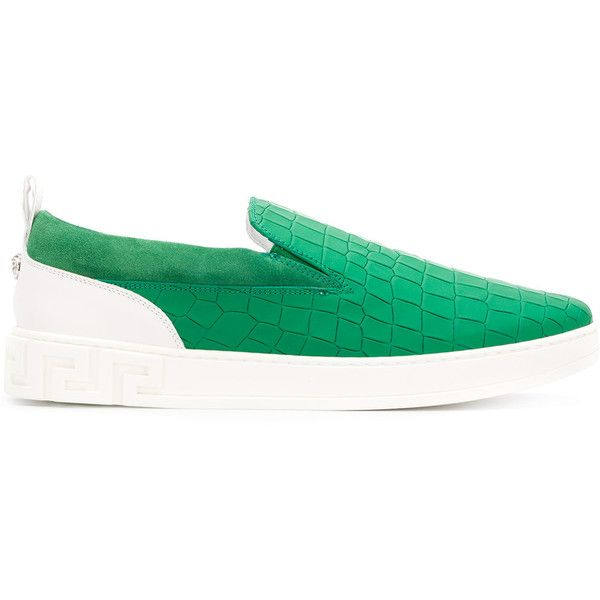 Versace crocodile embossed slip-on sneakers ($613) ❤ liked on Polyvore featuring men's fashion, men's shoes, men's sneakers, green, mens leather slip on shoes, mens leather shoes, versace mens shoes, mens slip on sneakers and mens green shoes
