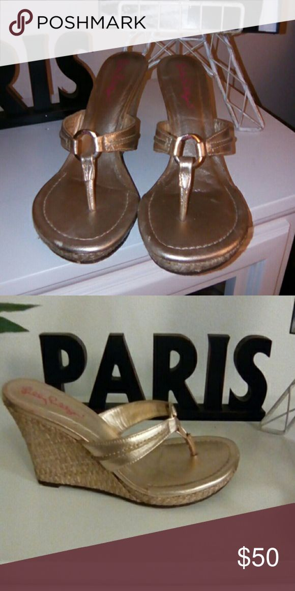 Lilly Pulitzer gold wedge heels Super cute Lilly Pulitzer wedges go with everything. EUC! Lilly Pulitzer Shoes Sandals
